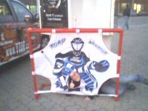 "I thought it was one of those ""put your face in this   place"" novelty things... you know... BE the hockey player's   crotch."