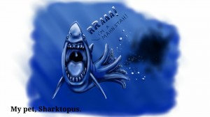 Sharktopus, painted on tablet